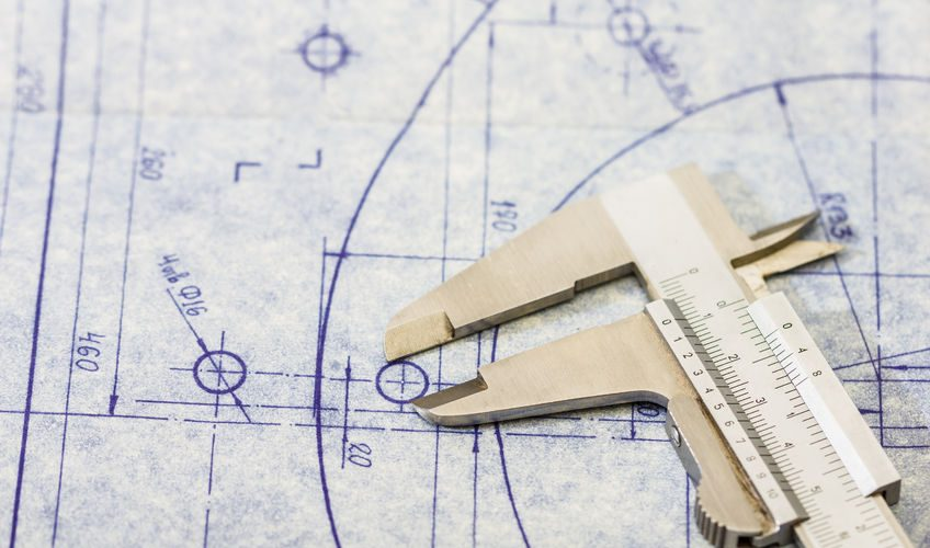 rubber seal, design engineering blueprint with guage